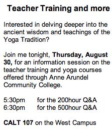 Anne Arundel Community College Yoga Teacher Training