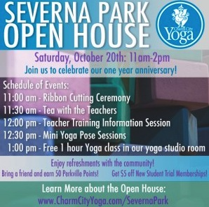 Free Yoga Class and Open House at Charm City Yoga this weekend