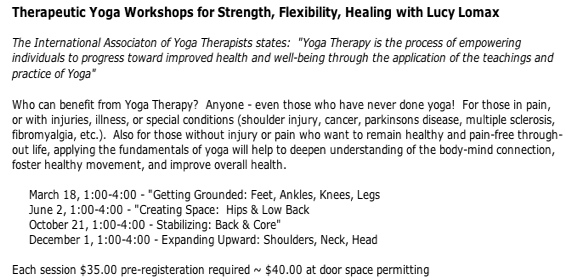 Therapeutic Workshop with Lucy Lomax this weekend – Back and Core