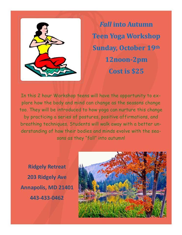 Teen Yoga Workshop this Sunday at Ridgely Retreat